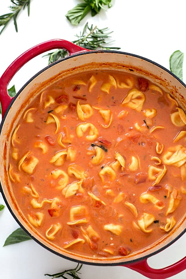 one pot creamy tomato tortellini soup gal on a mission. Black Bedroom Furniture Sets. Home Design Ideas