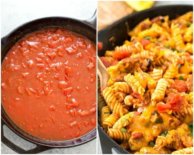 Vegetarian Cheeseburger Pasta - This cheesy goodness comes together in 30 minutes and is perfect for Meatless Monday's! You'll never buy a box mix again!