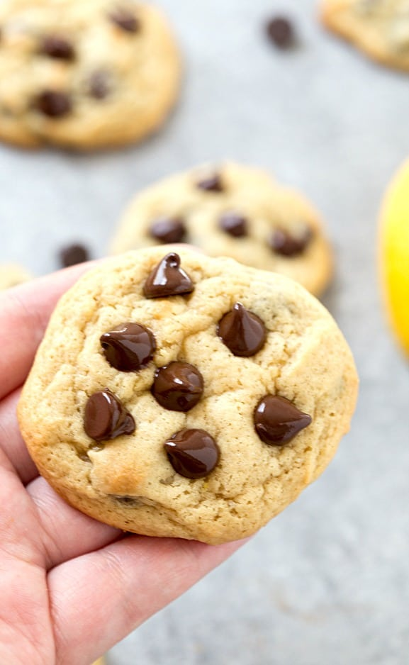 Lemon Cream Cheese Chocolate Chip Cookies - The BEST lemon cream cheese chocolate chip cookies! They are so easy and not require overnight chilling! A simple and incredibly chewy and soft-baked cookie! Bursting with flavor and perfect for a Spring or Summer dessert.