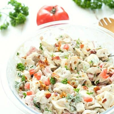 BLT Tortellini Salad - The perfect cold pasta salad perfect for any potluck, picnic, or your summer barbecues. This tortellini salad will be a huge hit whenever you take it!