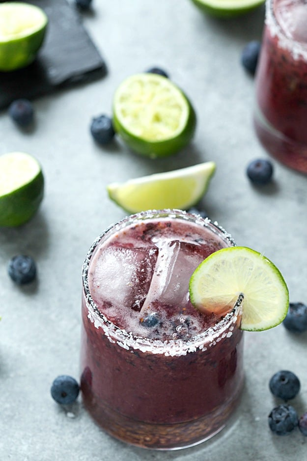 Skinny Blueberry Margarita - Quick and easy made from scratch skinny margaritas. Enjoy it on the rocks or frozen, you choose! Always a winner.