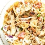 Asian Chicken Pasta Salad - Made with an incredible vinaigrette and simple ingredients! Ready to go in 15 minutes and can be made with or without mandarin oranges. Perfect for picnics and potlucks.