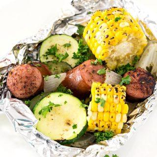 Kielbasa Sausage & Grilled Vegetables in Foil