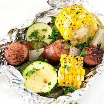 Kielbasa Sausage & Grilled Vegetables in Foil