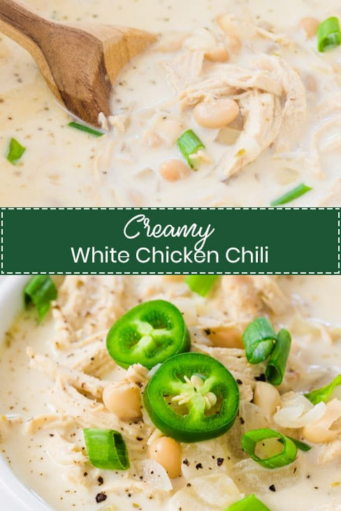 Creamy White Chicken Chili is loaded with shredded chicken, white beans, sour cream, jalapenos, and seasonings and spices. It's so easy, hearty, filling, and the perfect cold-weather staple! Only takes 30 minutes from start to finish.