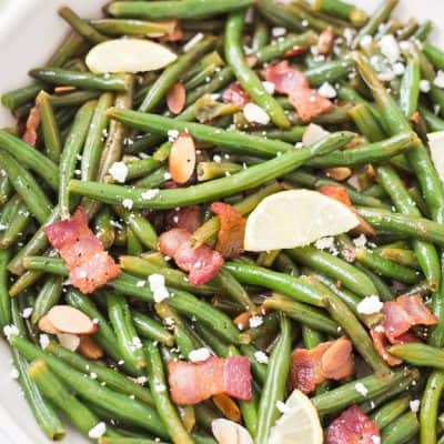 Lemon Butter Green Beans with Toasted Almonds Bacon & Feta