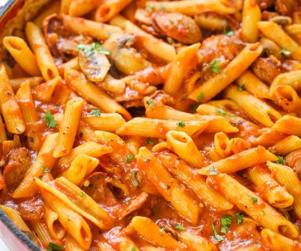 One-Pot Sausage and Mushroom Pasta