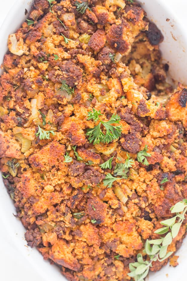 Easy Chorizo Cornbread Dressing (Stuffing) - Gal on a Mission