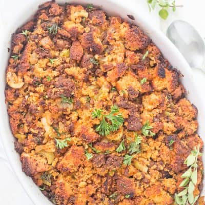 Southern Easy Chorizo Cornbread Dressing (Stuffing) recipe is a must-have on Thanksgiving! It's the best dressing I have ever had! It's life-changing.