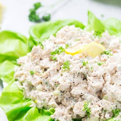 This easy low carb chicken salad recipe doesn't disappoint and is low carb and keto friendly! It's creamy with the perfect balance of chopped walnuts, celery, and has the juiciest chicken chunks ever.