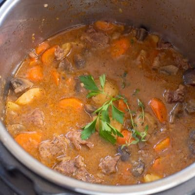 No need to have a big pot of beef stew simmering all day when you can have Instant Pot Beef Stew ready in 45 minutes!  The beef is so tender it just falls apart and melts in your mouth - my favorite.