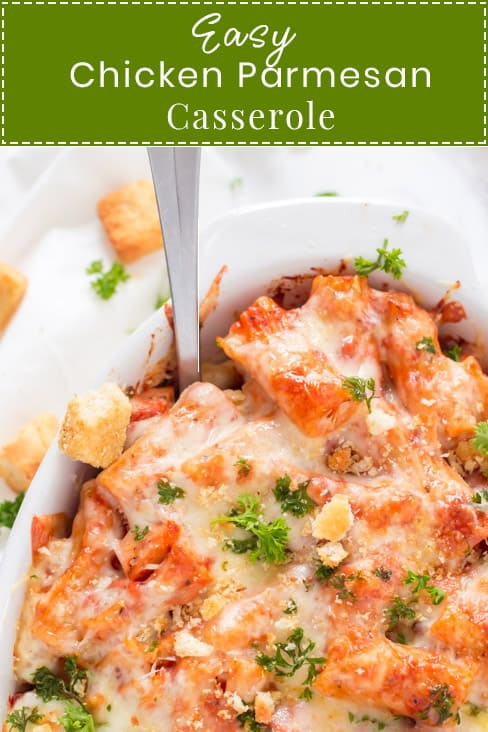 Easy Chicken Parmesan Casserole recipe is the perfect weeknight meal. Made with marinara sauce, parmesan cheese, mozzarella cheese, and topped with crunchy croutons for the extra crunch.