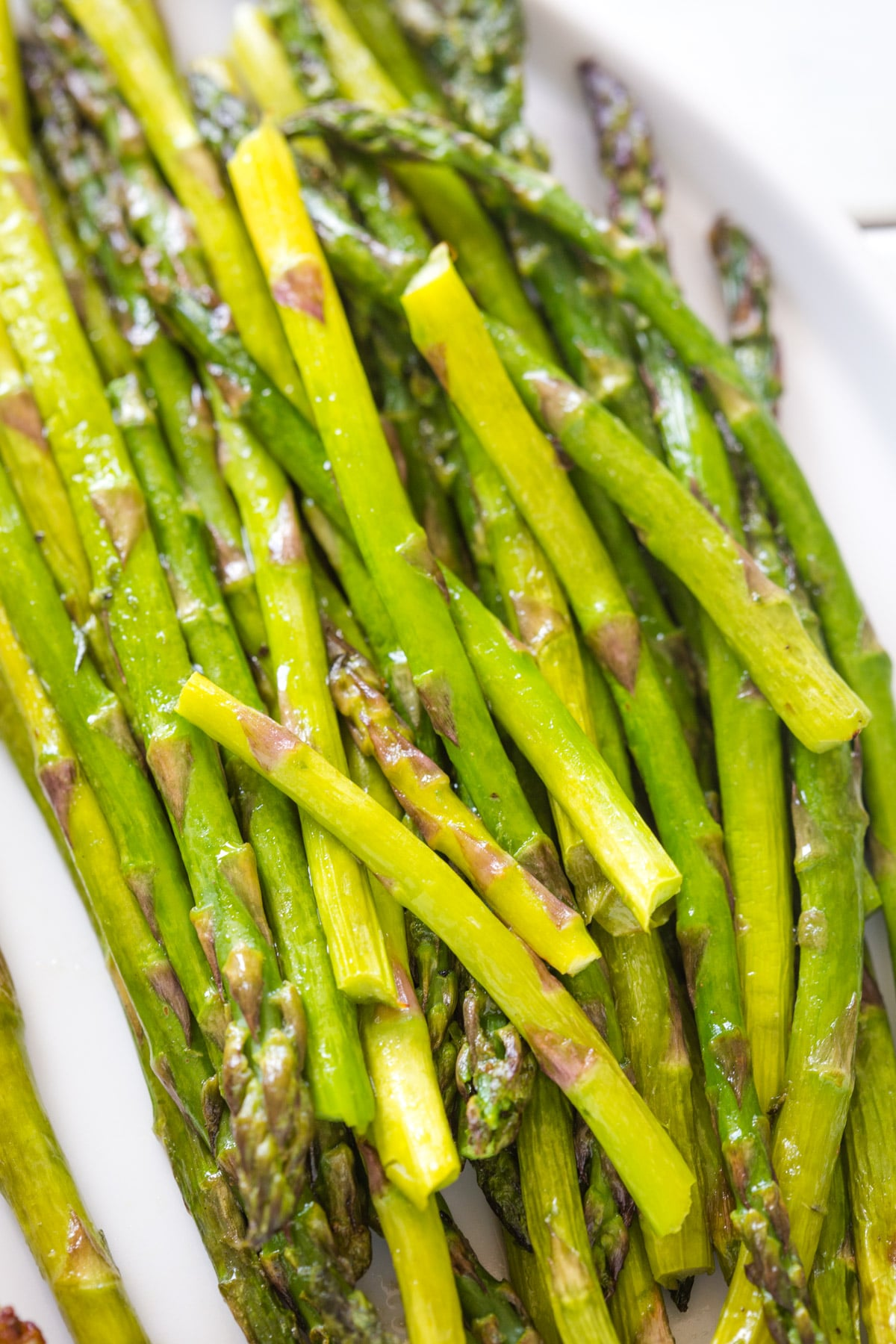 Cooked and closeup of asparagus
